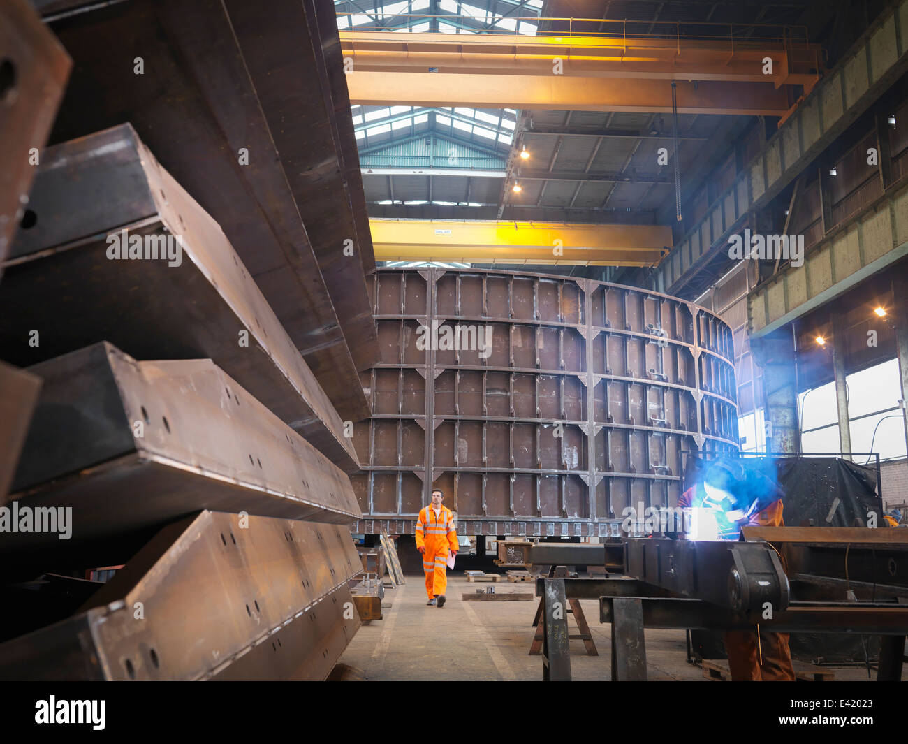 Engineer in marine fabrication factory - Stock Image