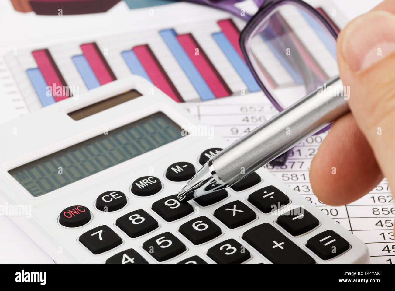 a calculator with graphics of a balance sheet sales profit and