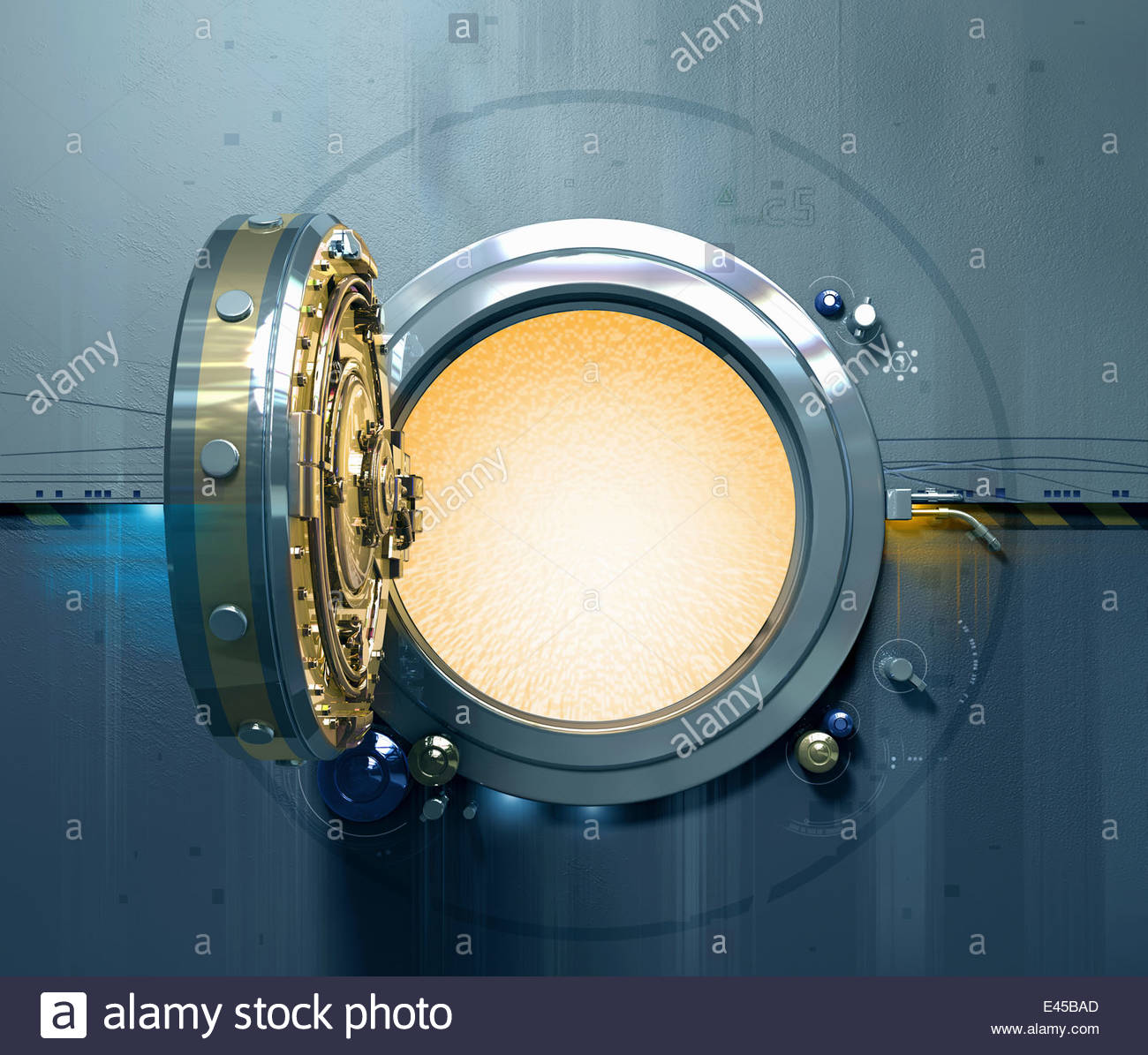 Open vault door with glowing light inside - Stock Image