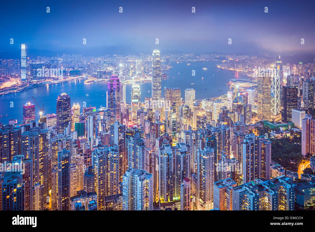 Hong Kong, China city skyline from Victoria Peak. - Stock Image