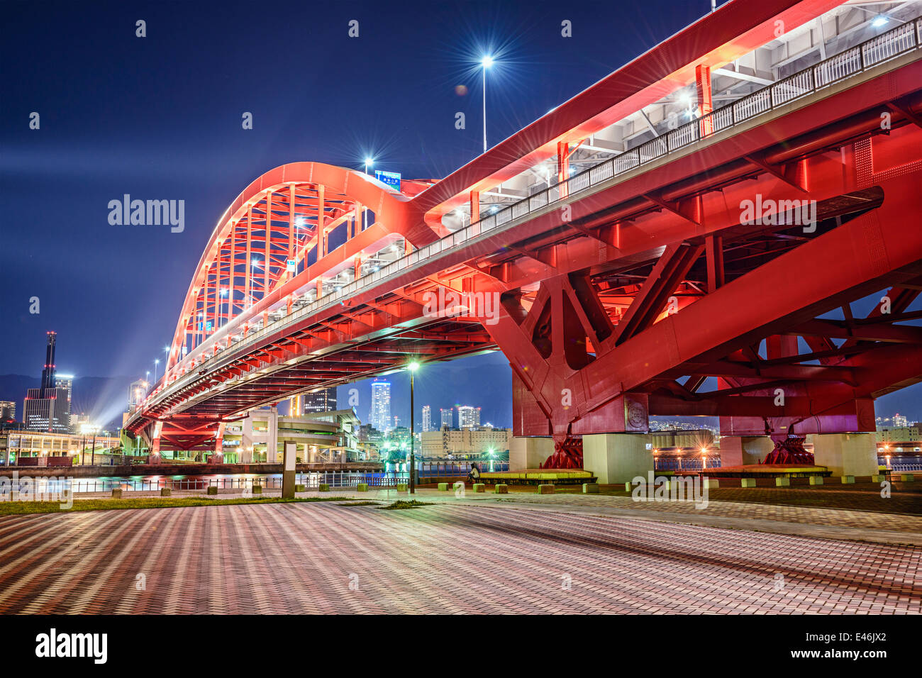 Kobe, Japan at Port Island Bridge. - Stock Image