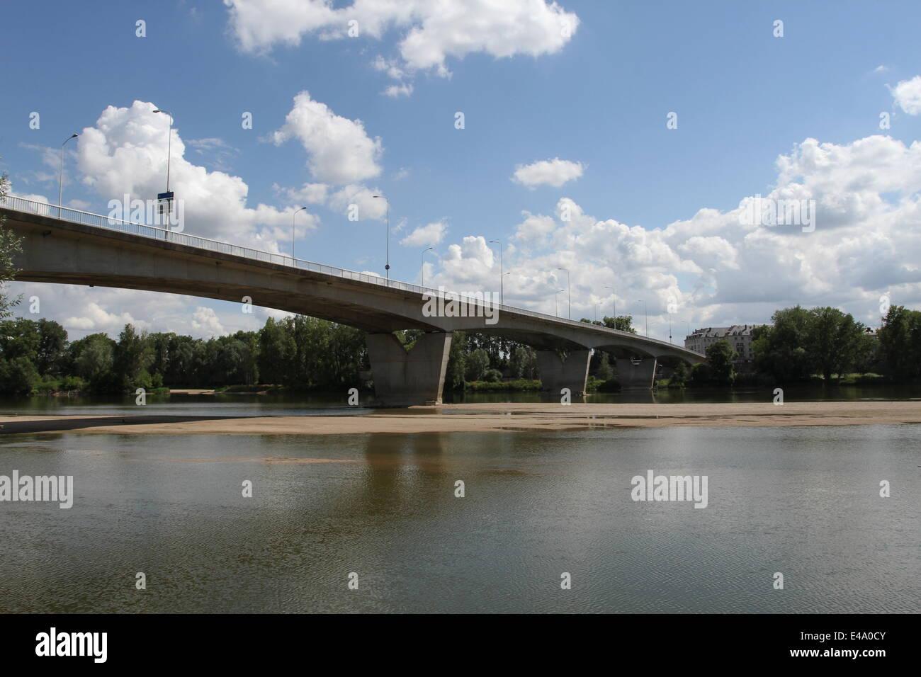 Pont Mirabeau bridge across River Loire Tours France July 2014 - Stock Image
