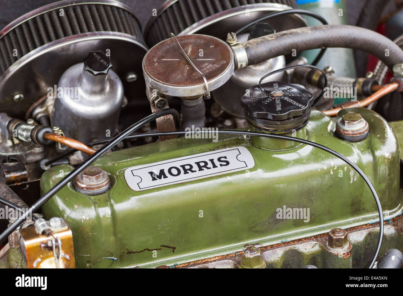 The engine of Morris Mini-Minor at a Mini rally in Northumberland, England - Stock Image