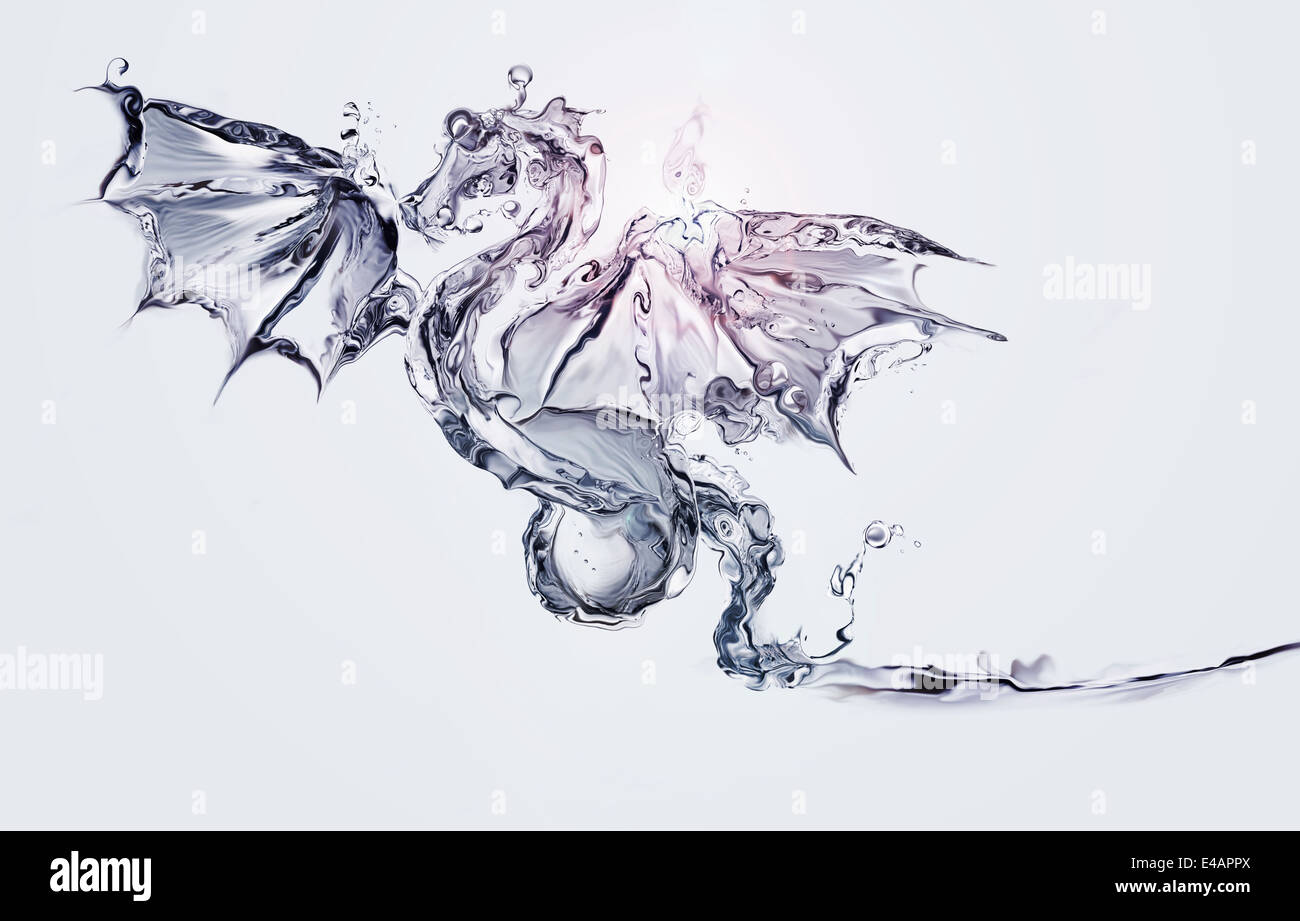 A blue flying dragon made of water. - Stock Image