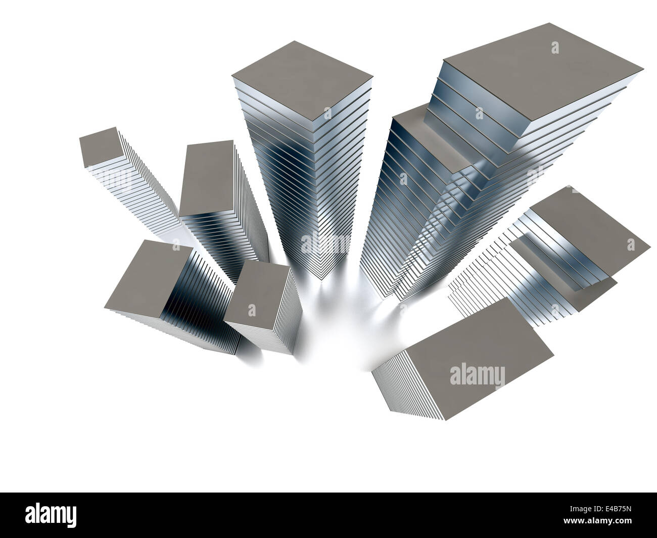group of skyscrapers of different height - Stock Image