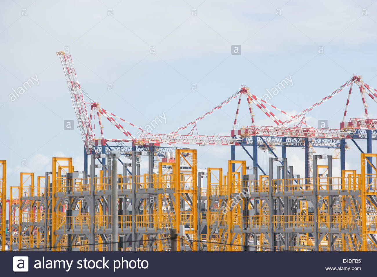 Cargo cranes in dockyard - Stock Image