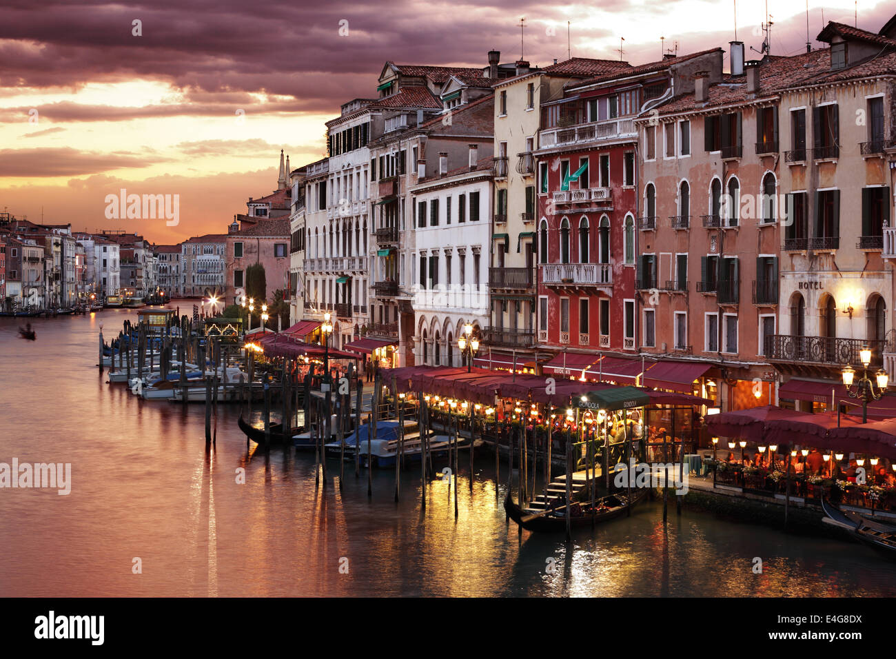 Venice Grand Canal at night - Stock Image