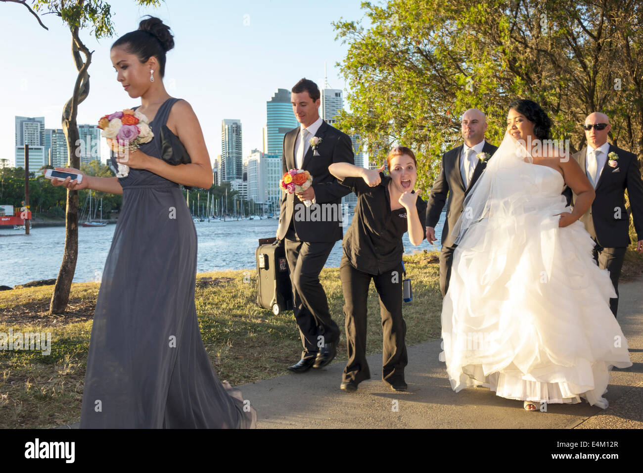 Brisbane Australia Queensland Kangaroo Point Cliffs Count White Park Black Woman Attendant Bridesmaid Bride Wedding Dress Party River