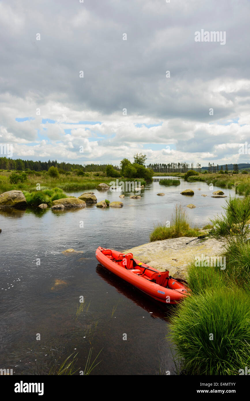 Canoeing on River Dee, Galloway Forest, Dumfries & Galloway, Scotland - Stock Image