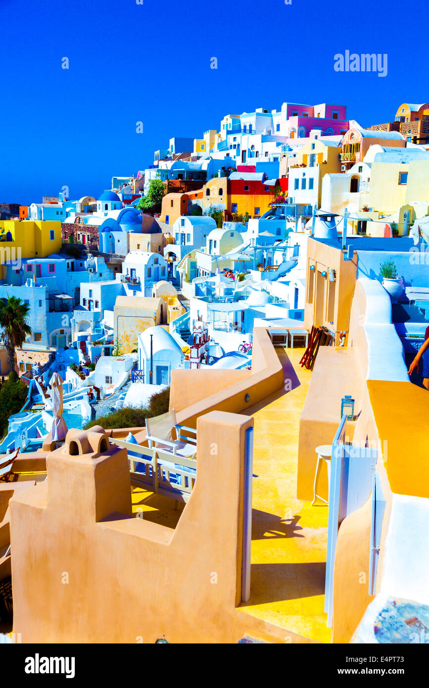 Famous architecture  views city Santorini,  Greece - Stock Image