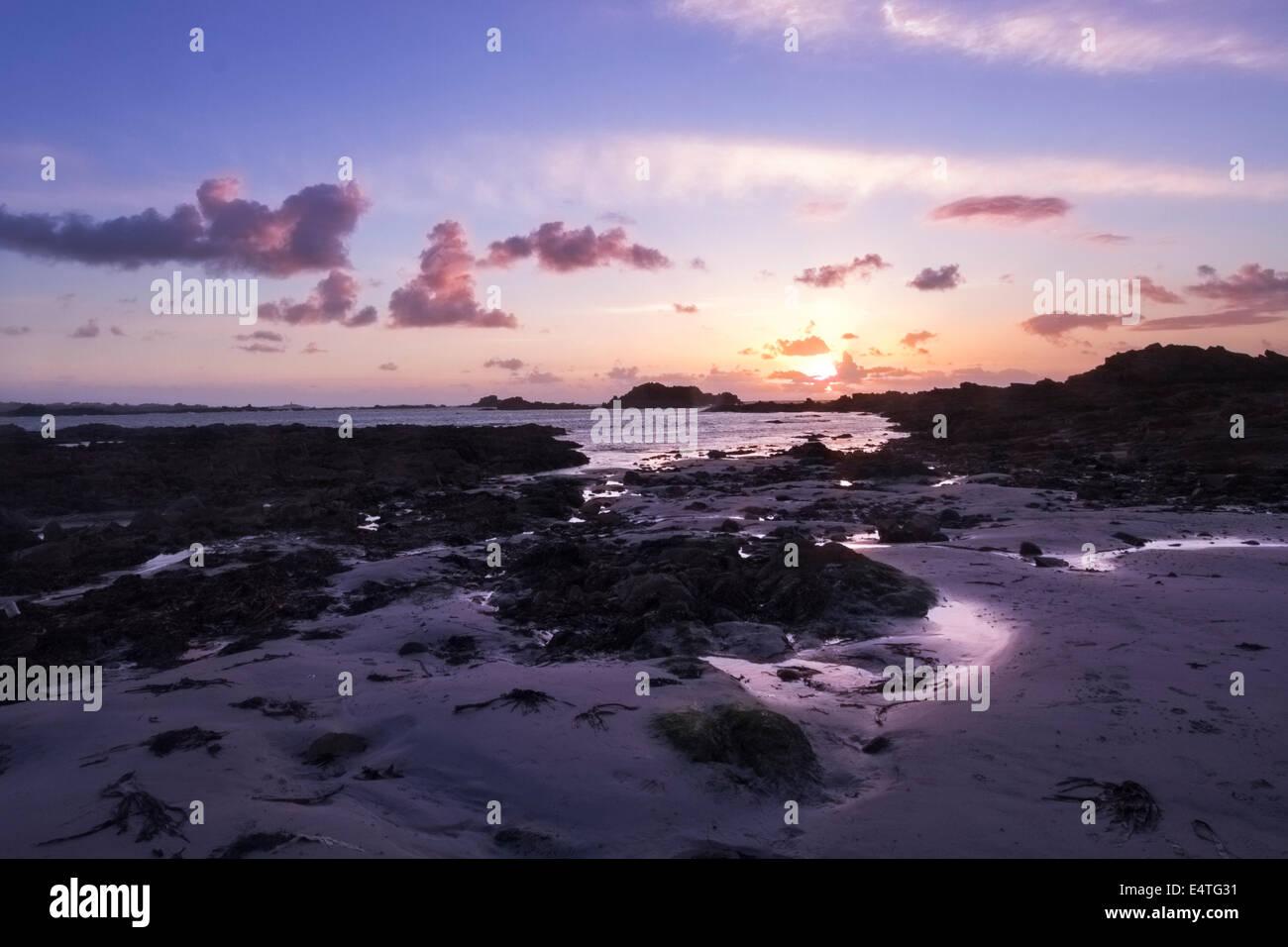 Sunset on guernsey english channel islands UK - Stock Image