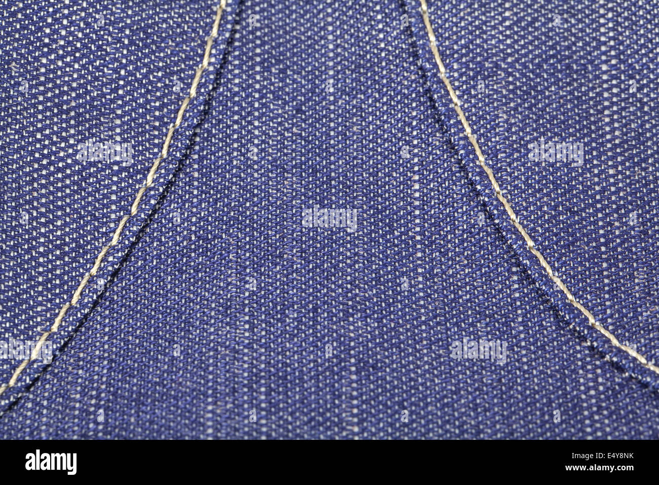 Dark blue jeans fabric texture with stitch - Stock Image