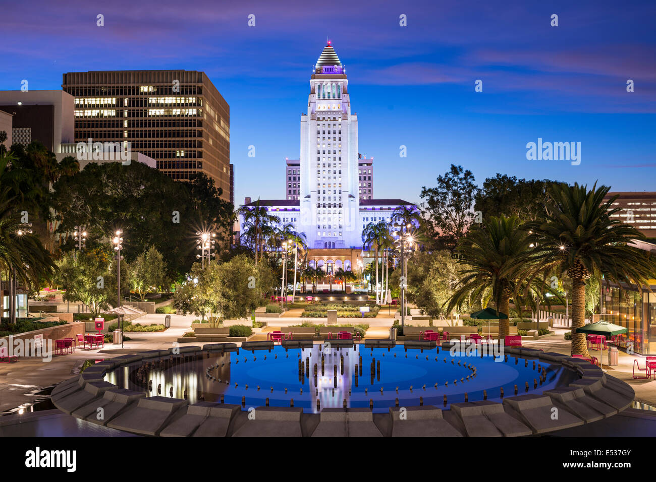 Los Angeles, California, USA downtown at city hall. - Stock Image