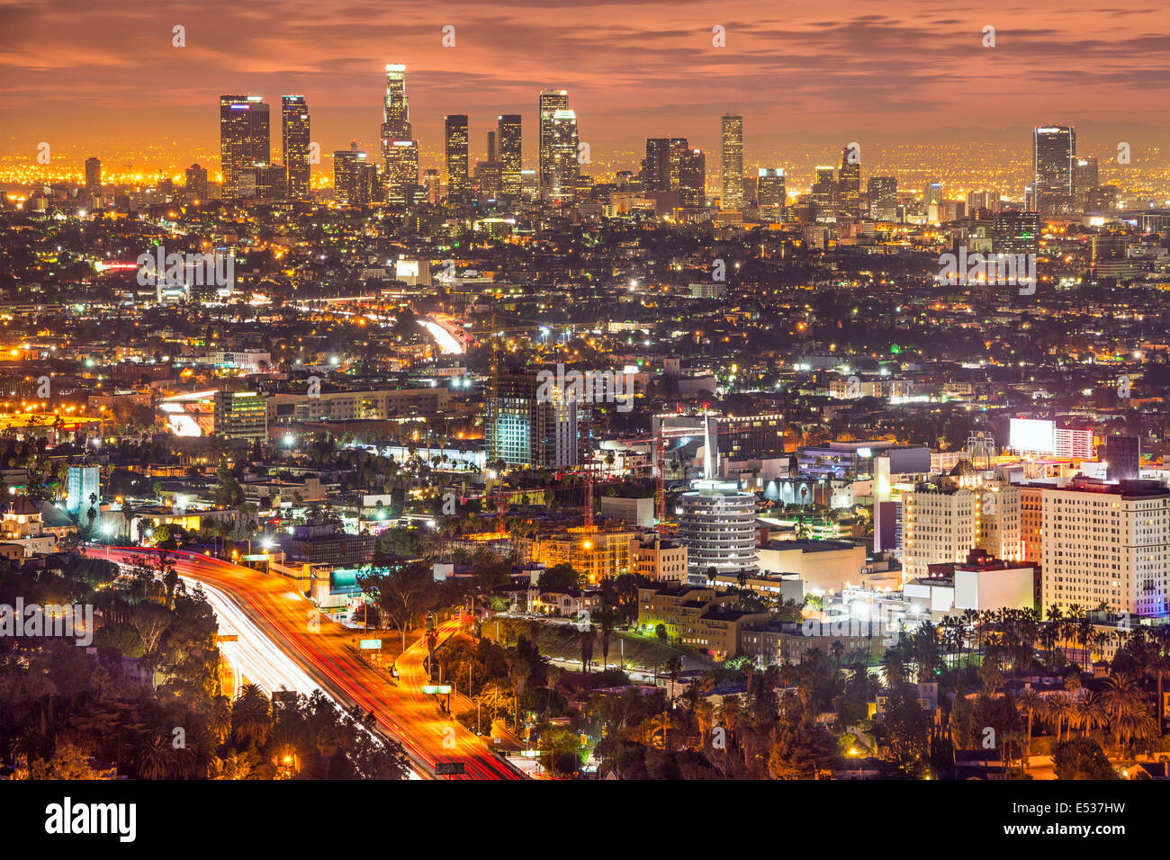 Los Angeles, California, USA downtown skyline at night. - Stock Image