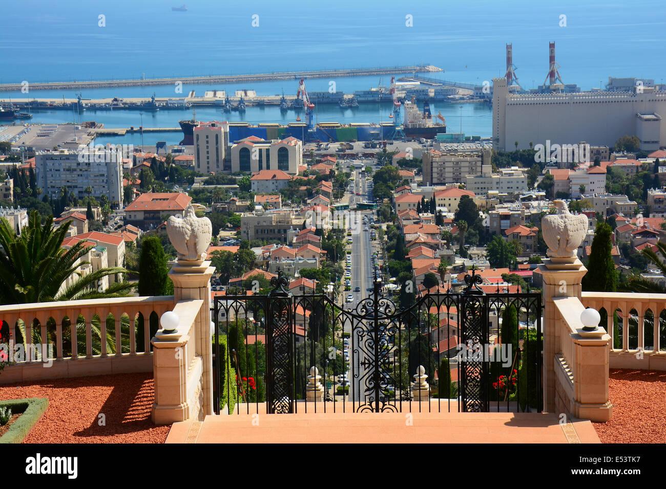 Haifa port, view from the  Bahai Gardens, Israel - Stock Image