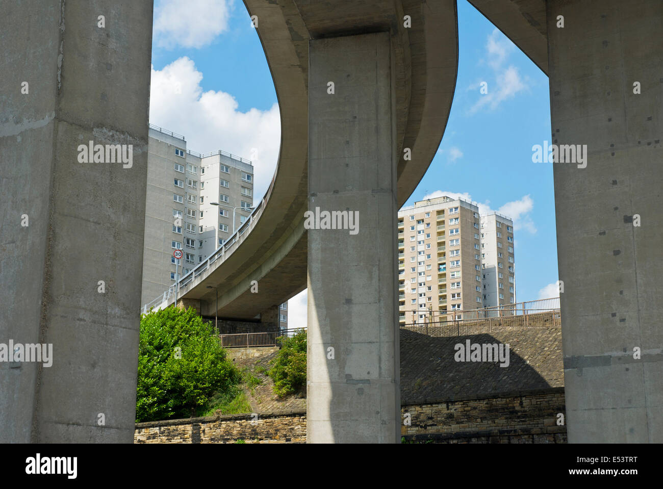 Flyover and high-rise flats: urban bleakness in Halifax, West Yorkshire, England UK - Stock Image