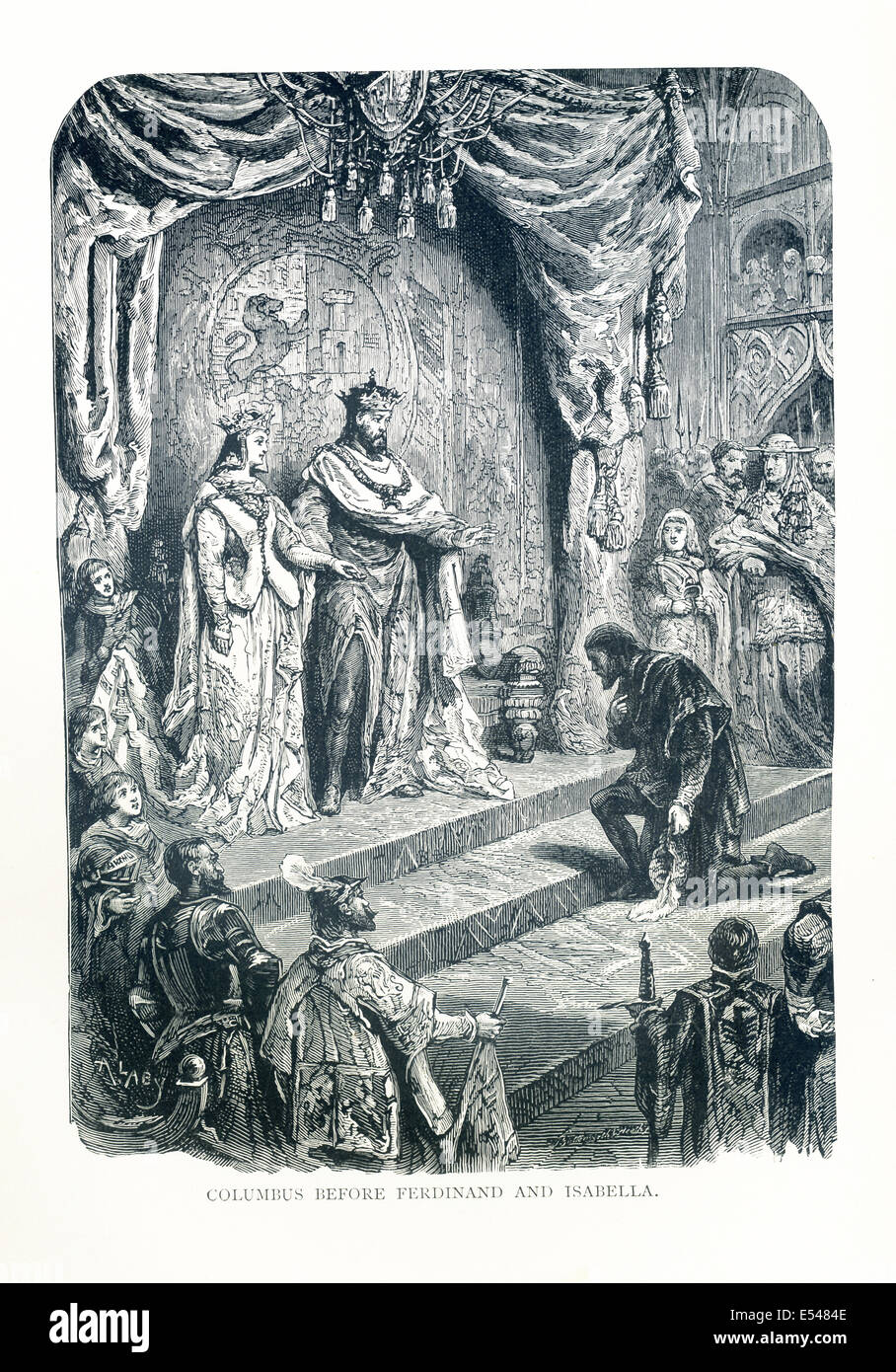 Columbus is shown presenting his proposal to King Ferdinand and Queen Isabella at Alcazar Castle in Cordoba in January - Stock Image