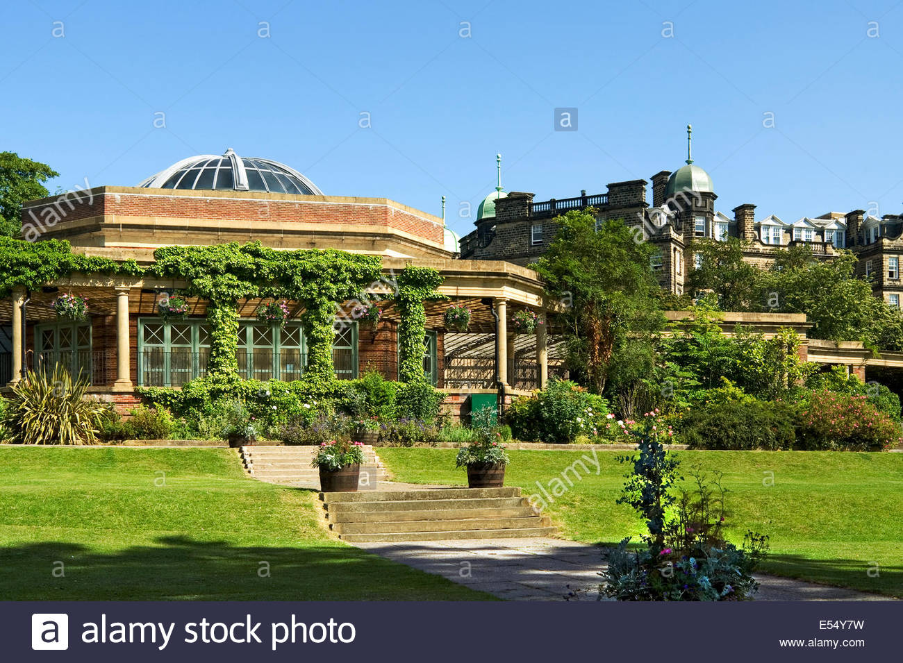 Sun Pavilion at the Valley Gardens in Harrogate (or Harrogate Spa) a spa town in North Yorkshire, England. Stock Photo