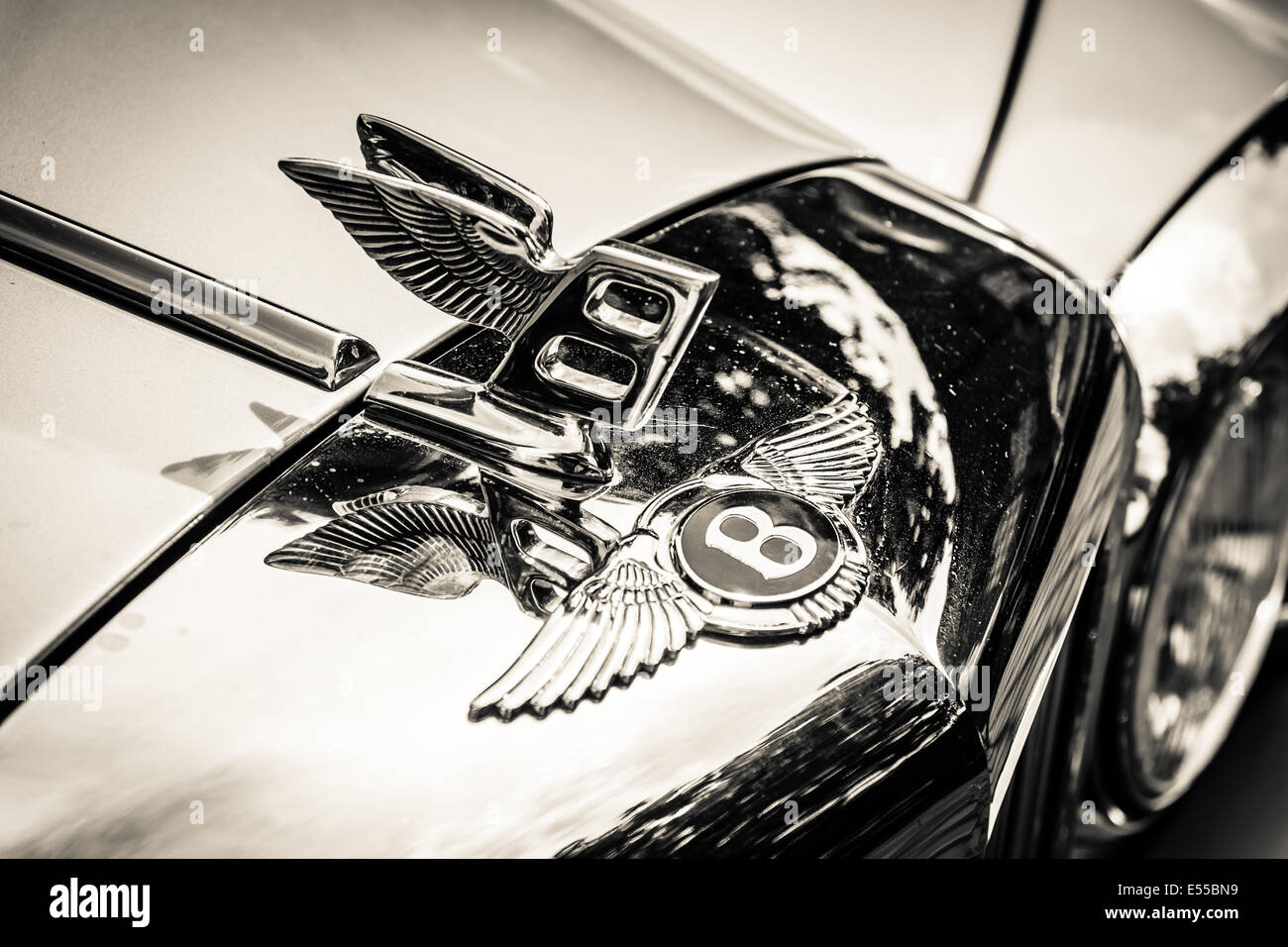 Hood Ornament Of The Full Size Luxury Car Bentley T2 Black And