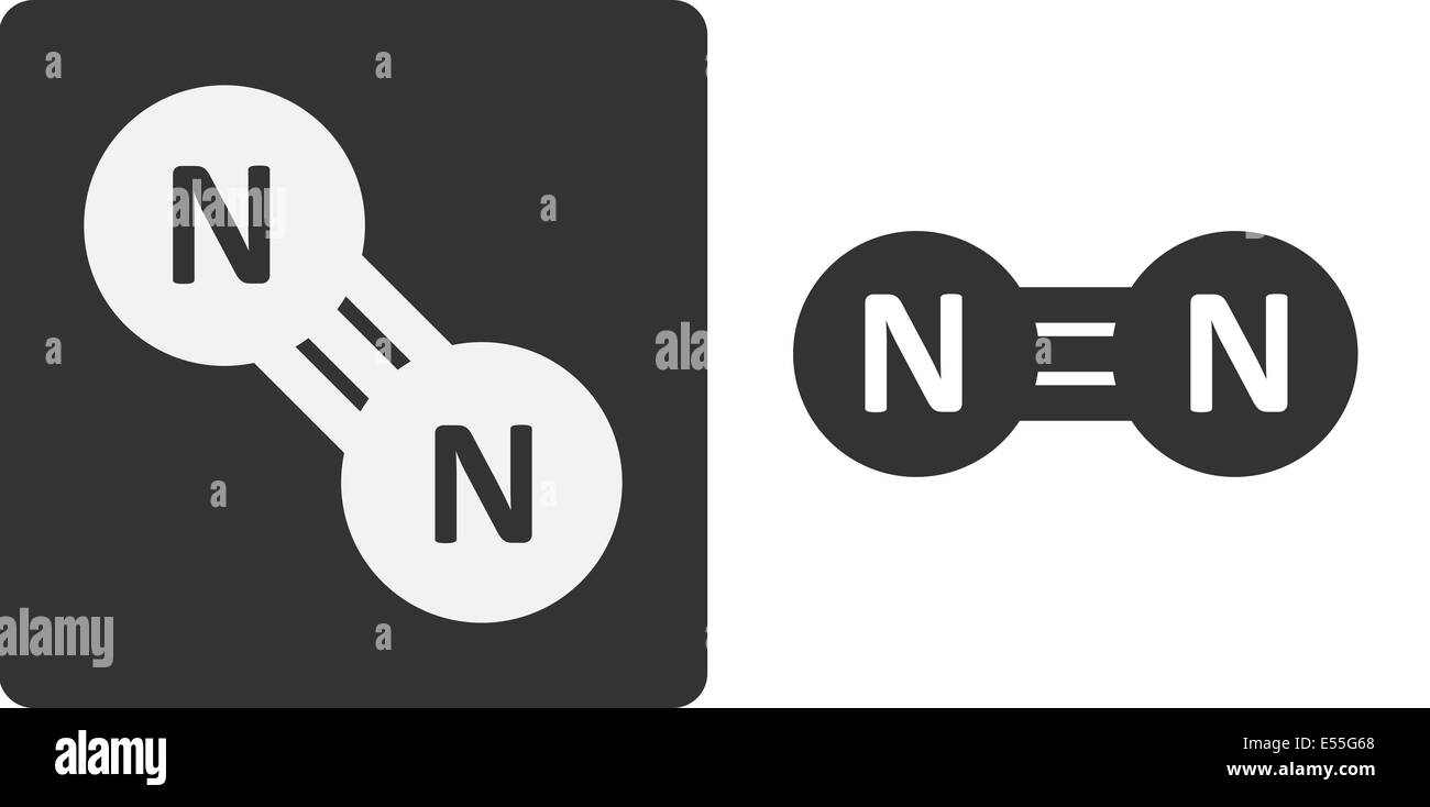 Nitrogen N2 Gas Molecule Flat Icon Style Atoms Shown As Circles