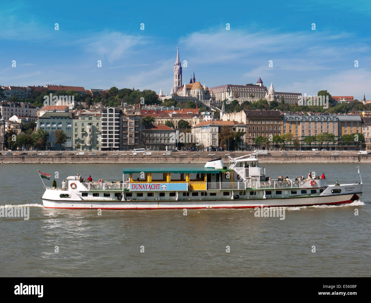 Boat on the Danube river, Budapest, Hungary Stock Photo