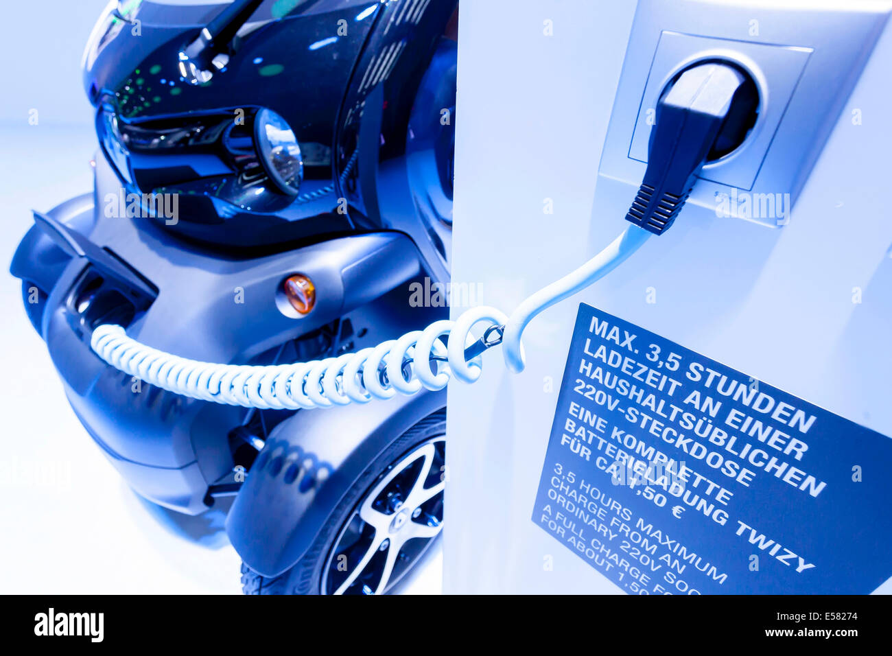 Electric car charging with a charging cable, Renault Twizy, 65th International Motor Show IAA 2013, Frankfurt am - Stock Image