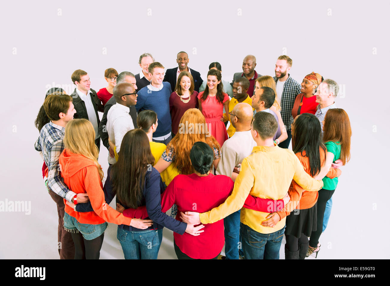 Business people in huddle - Stock Image