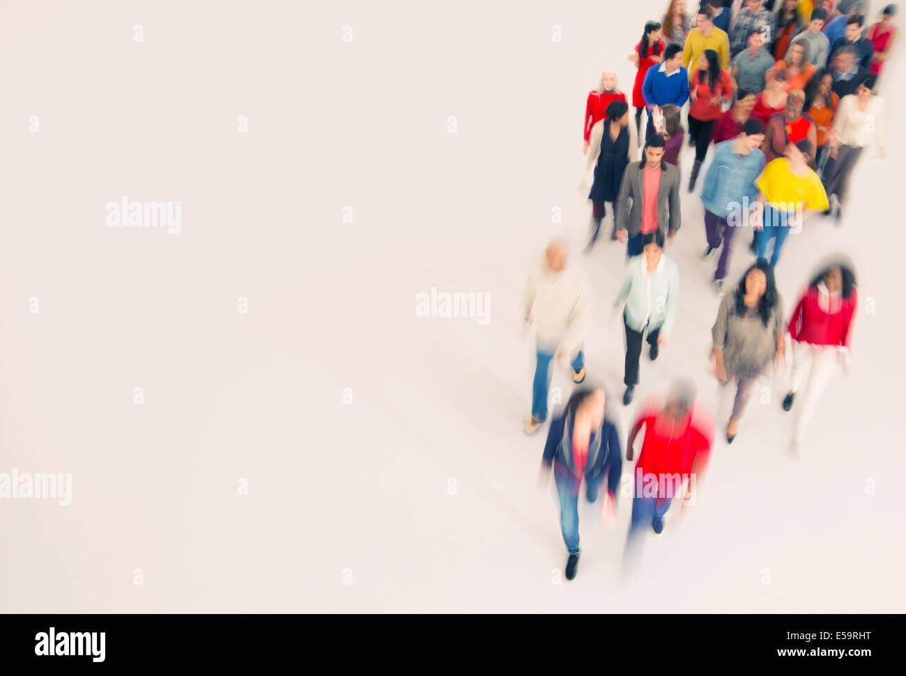 Crowd walking - Stock Image