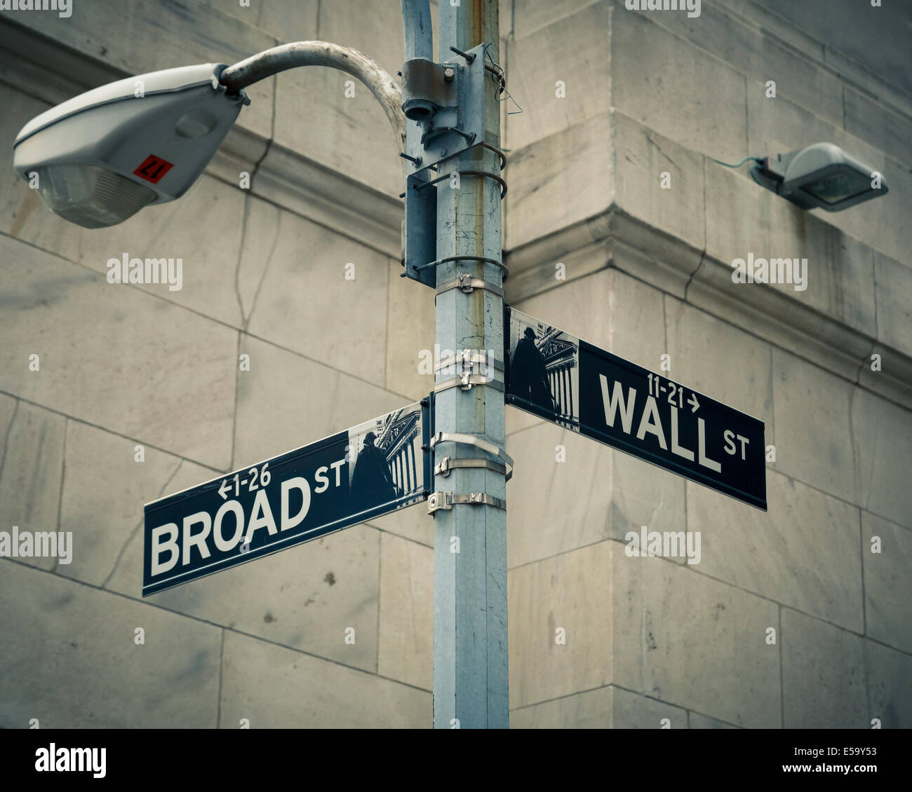 Street signs of Wall street and Broad street - Stock Image