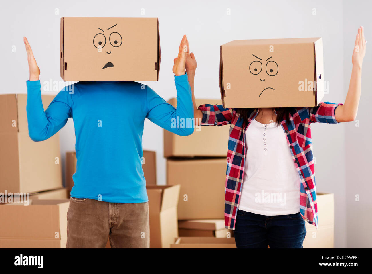 We hate unpacking! Debica, Poland - Stock Image