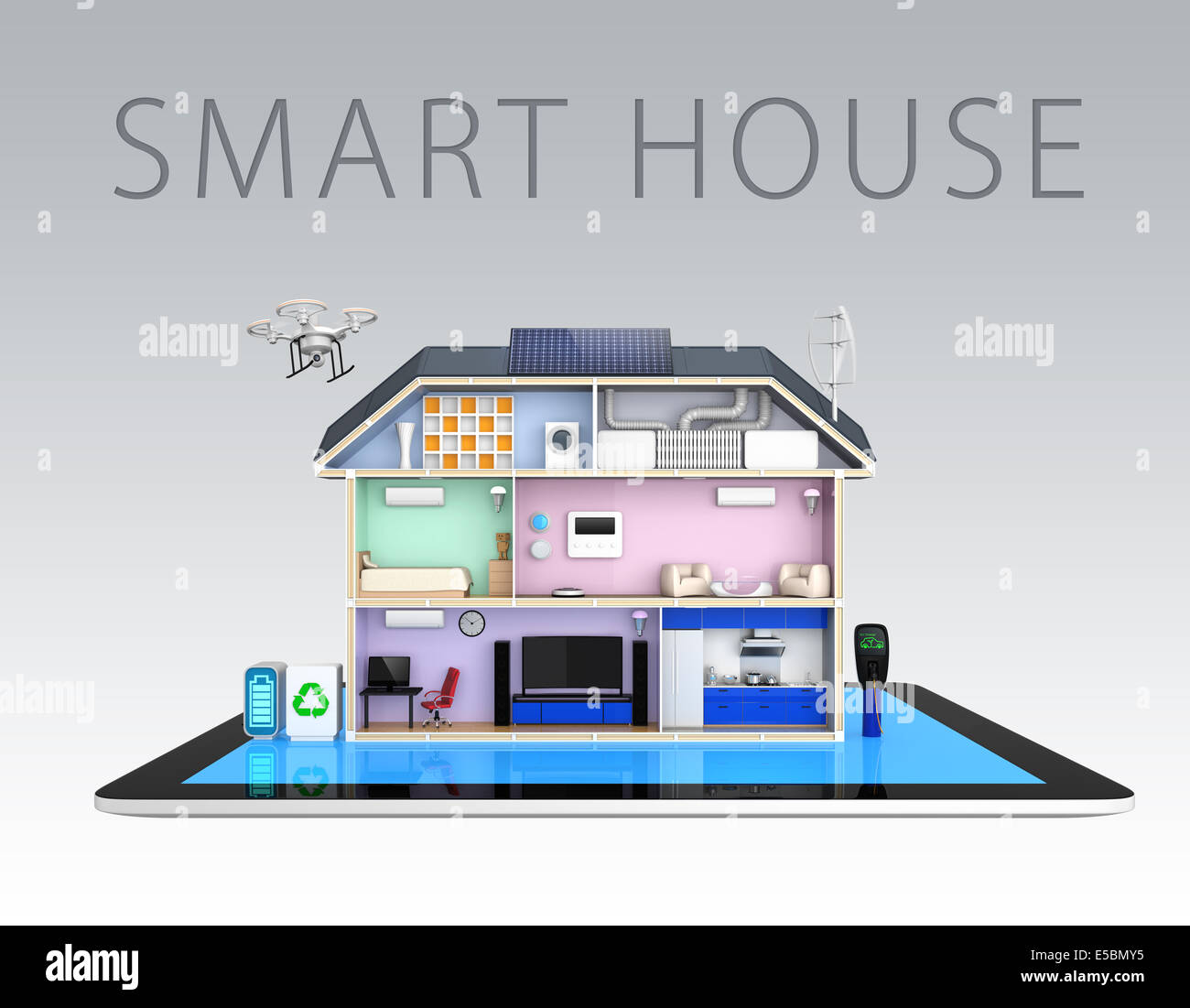 Smart House Diagram Home Network Connectivity Wire Electrical Wiring Diagrams For Homes With Energy Efficient Appliances On Tablet Pcwith Text