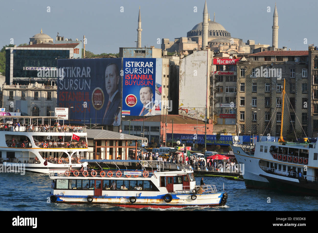 Large election campaign billboards of Turkey's ruling AKP party with portraits of AKP leader and current prime - Stock Image