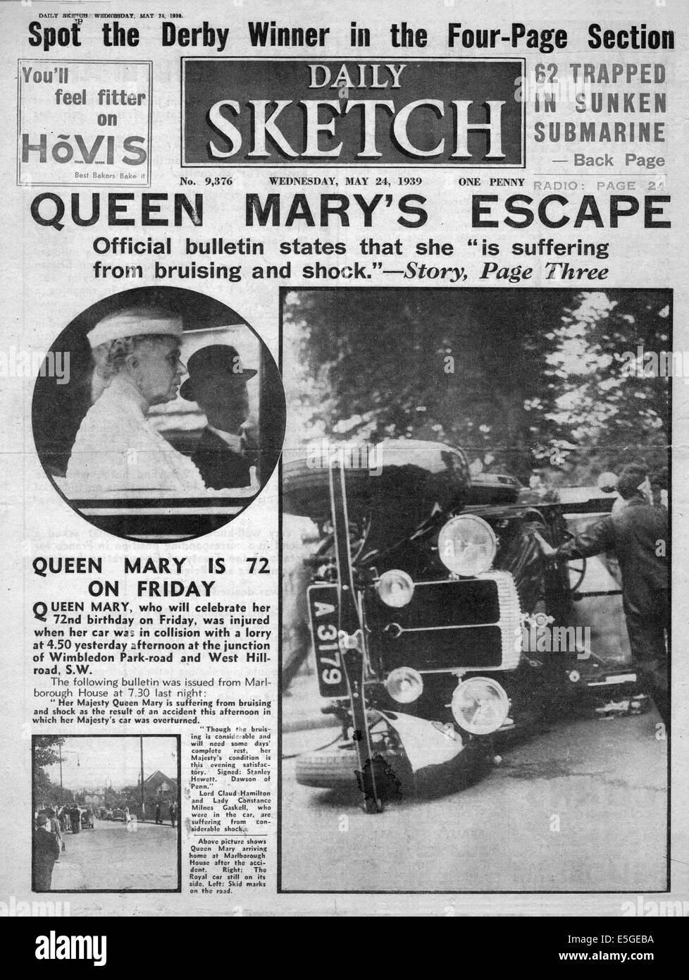 1939 Daily Sketch front page reporting Queen Mary injured in Stock ...