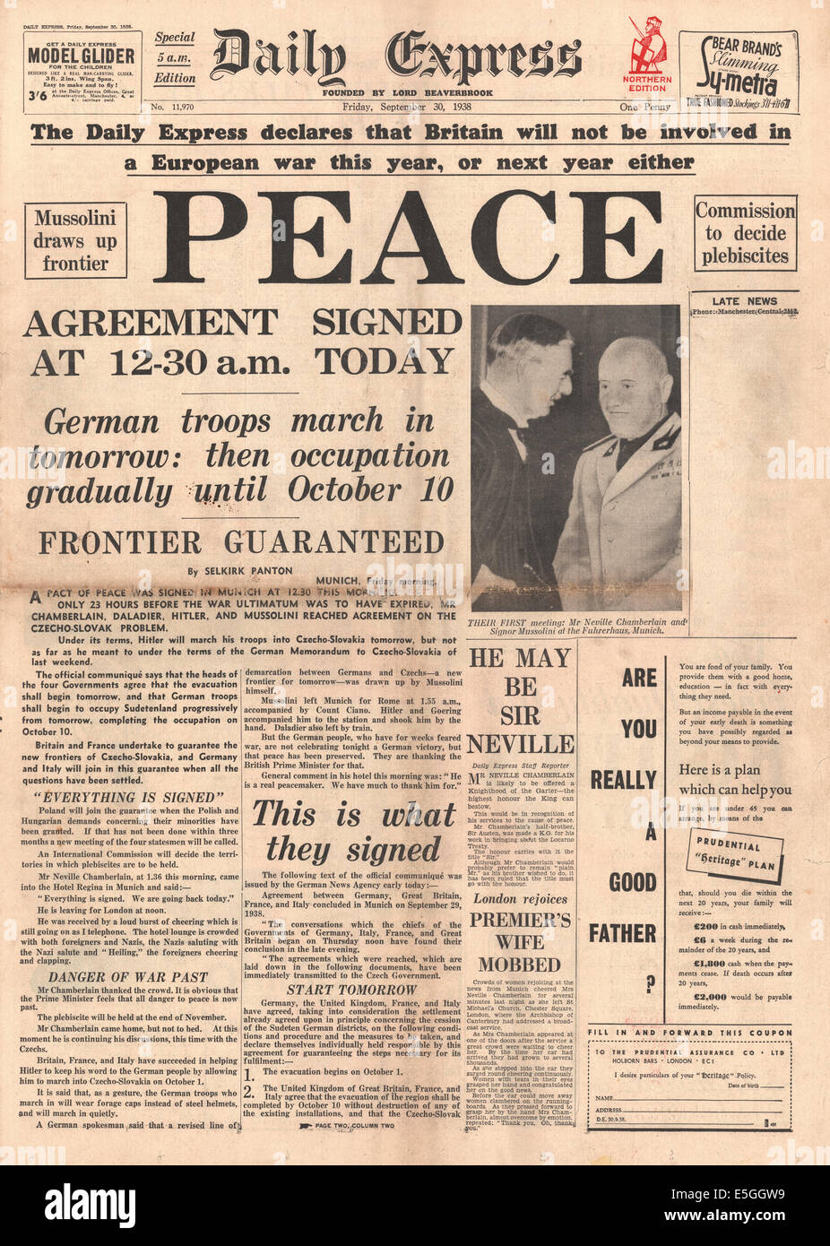 1938 daily express front page reporting the signing of the munich 1938 daily express front page reporting the signing of the munich peace agreement platinumwayz