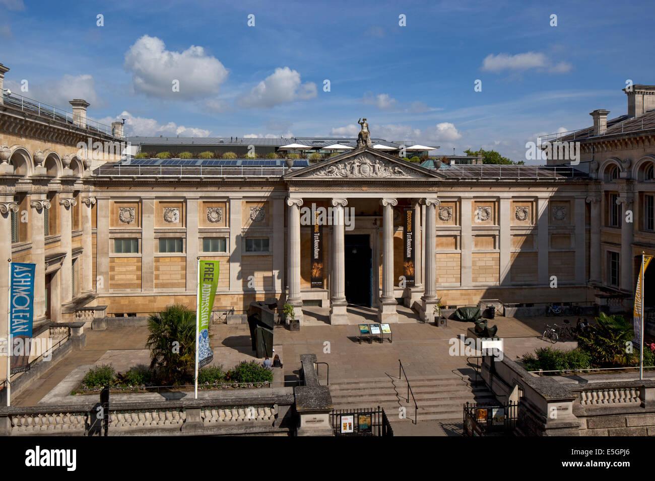 Main facade and entrance to the Ashmolean museum Oxford England - Stock Image