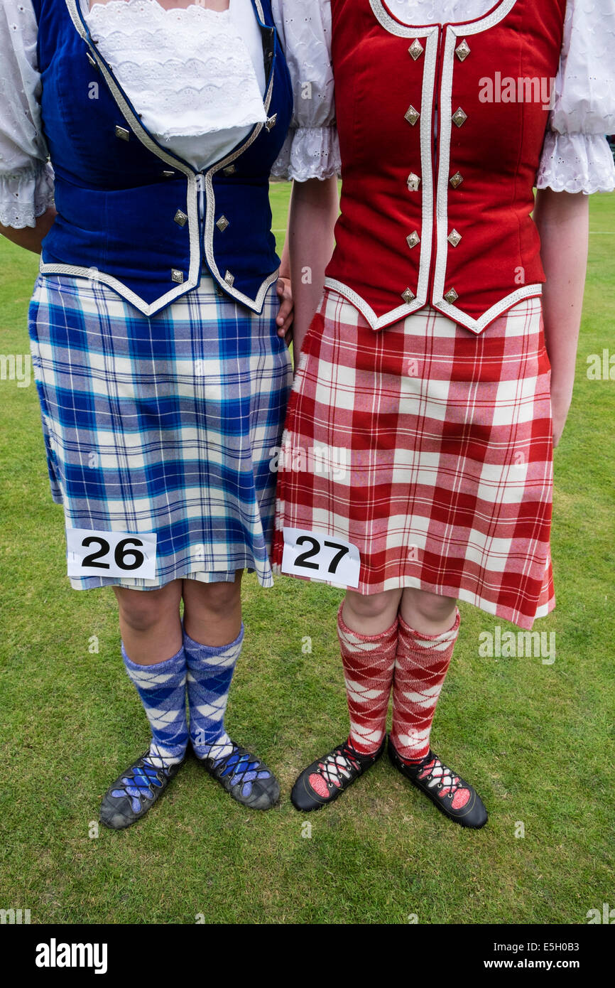 detail of female competitors to highland dancing competition at Braemar Junior Highland Games in July in Scotland - Stock Image