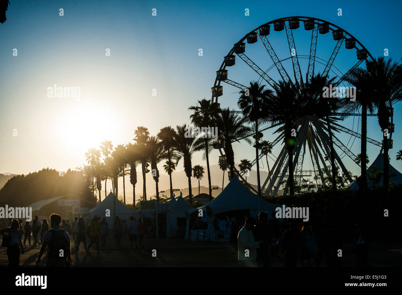 Famous Coachella Ferris Wheel at dusk Stock Photo
