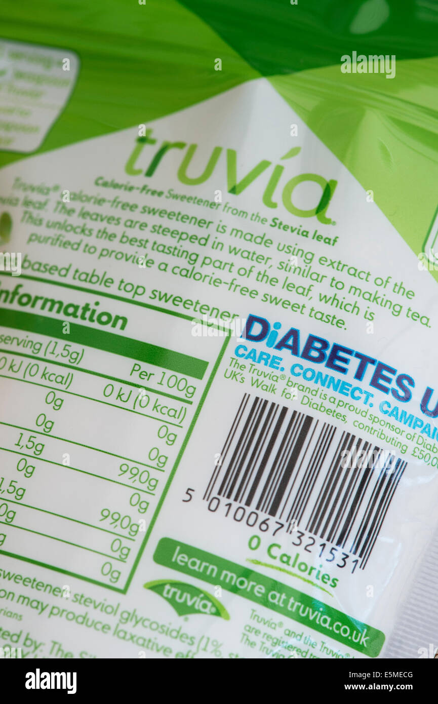 Truvia , Calorie Free Sweetener made from Stevia Leaf. Food packet labeling - Stock Image