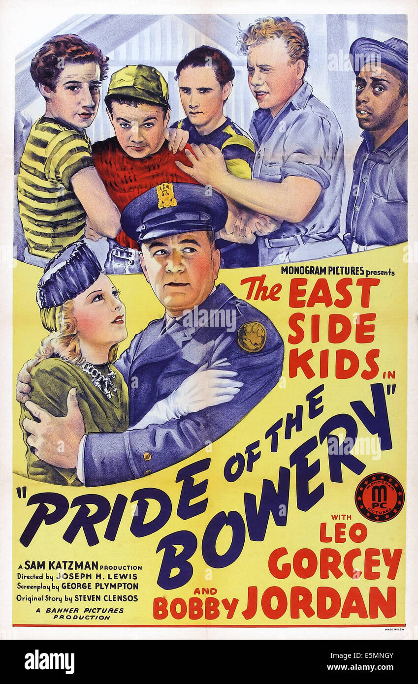 PRIDE OF THE BOWERY, US poster, top from left: Bobby Jordan, Leo Gorcey, David Gorcey, Eugene Francis, Ernest Morrison, - Stock Image