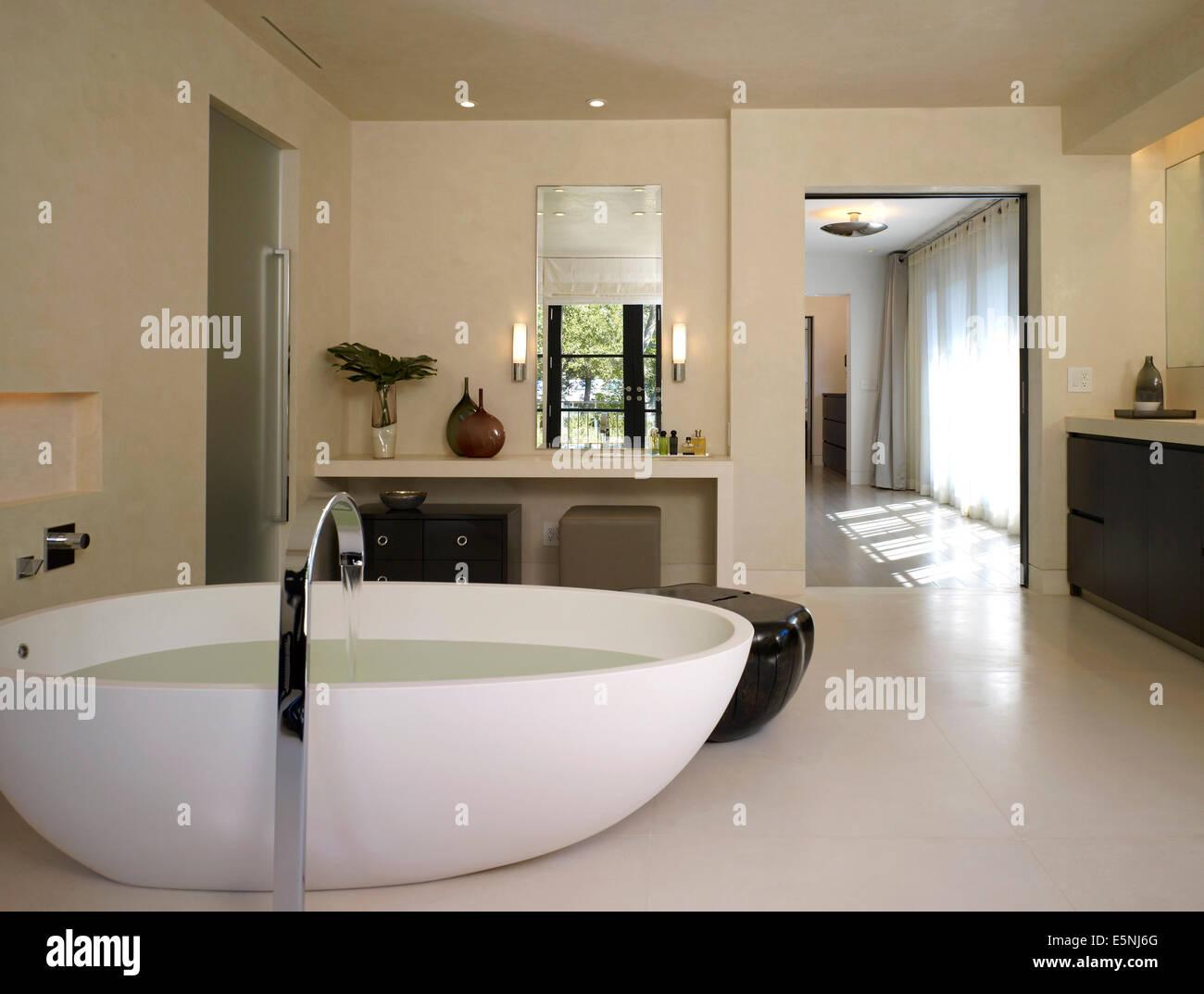 Freestanding modern bath in Stone House, Atherton, California, USA ...