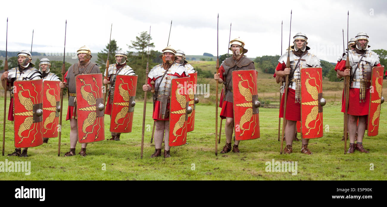 A  re-enactment  of typical Roman weapons and tactics given at the site of Vindolanda Roman Fort in Northumberland, Stock Photo