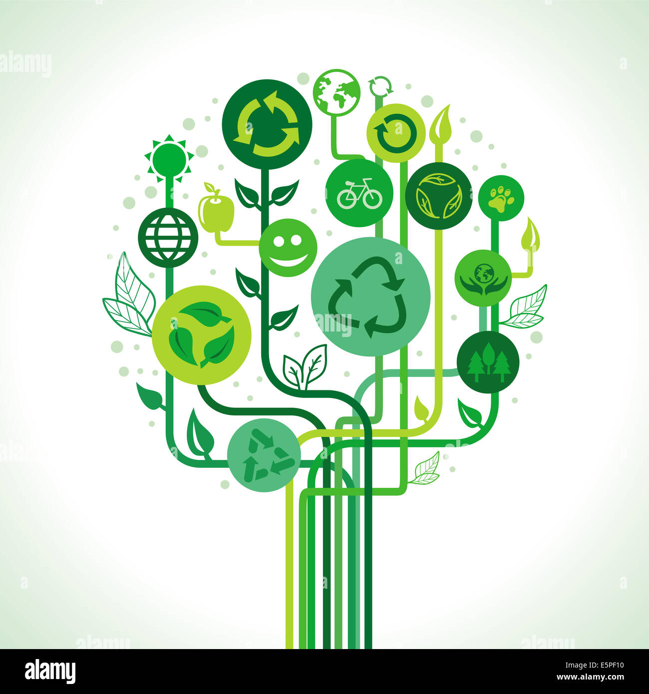 Ecology concept - abstract green tree with recycle signs and symbols - Stock Image