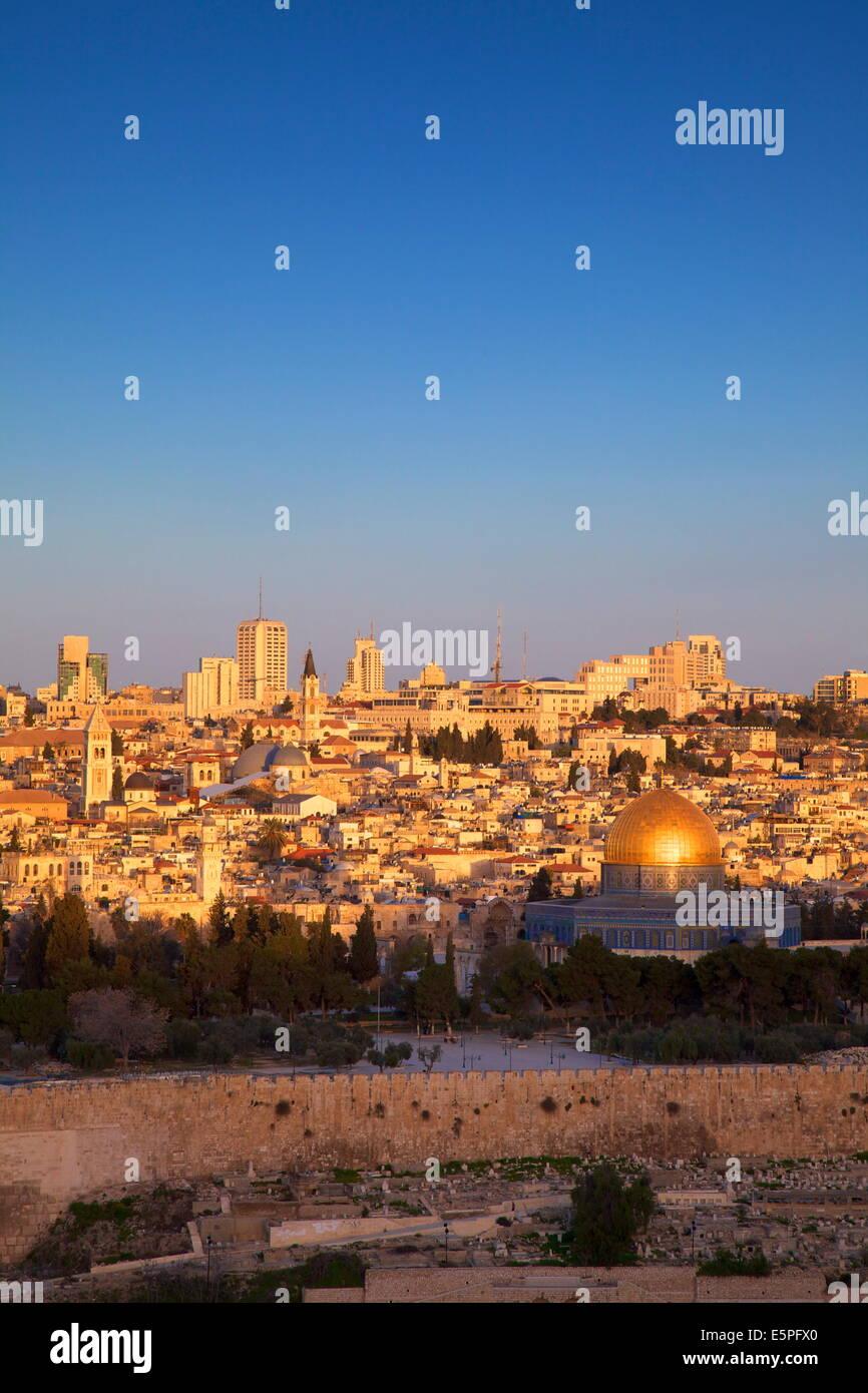 View of Jerusalem from The Mount of Olives, Jerusalem, Israel, Middle East - Stock Image