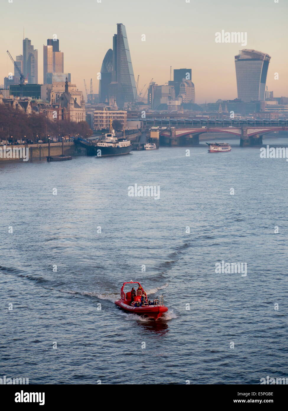 Modern London CBD Cityscape dominated by new buildings such as Walkie Talkie and Cheesegrater, London, England, - Stock Image