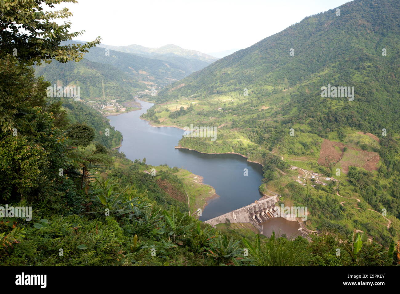 Newly constructed hydro electric dam in the hilly Kimin district of Arunachal Pradesh, India, Asia Stock Photo