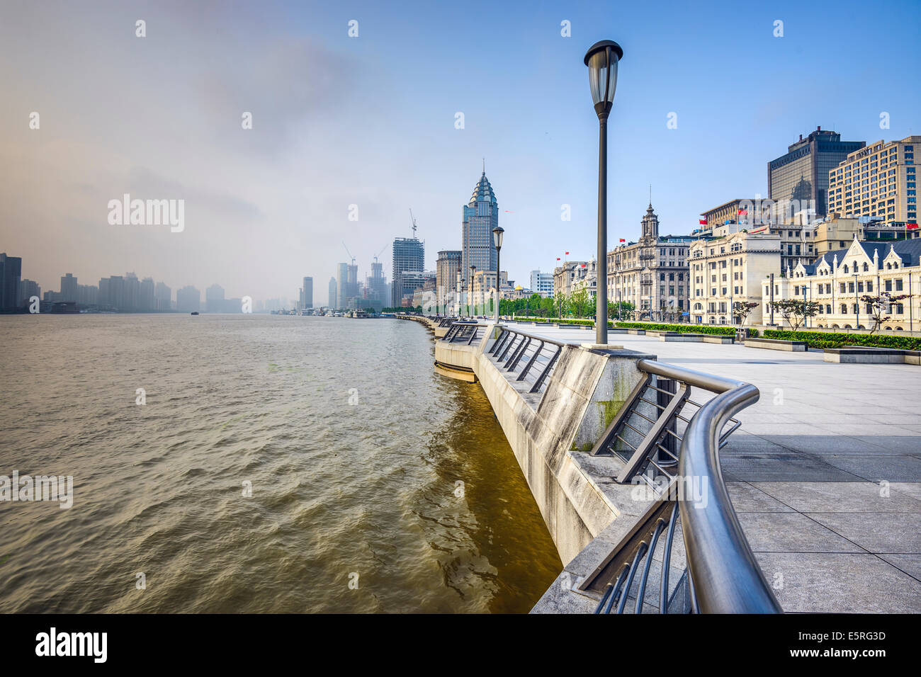 Shanghai, China at the Bund in the early morning. - Stock Image