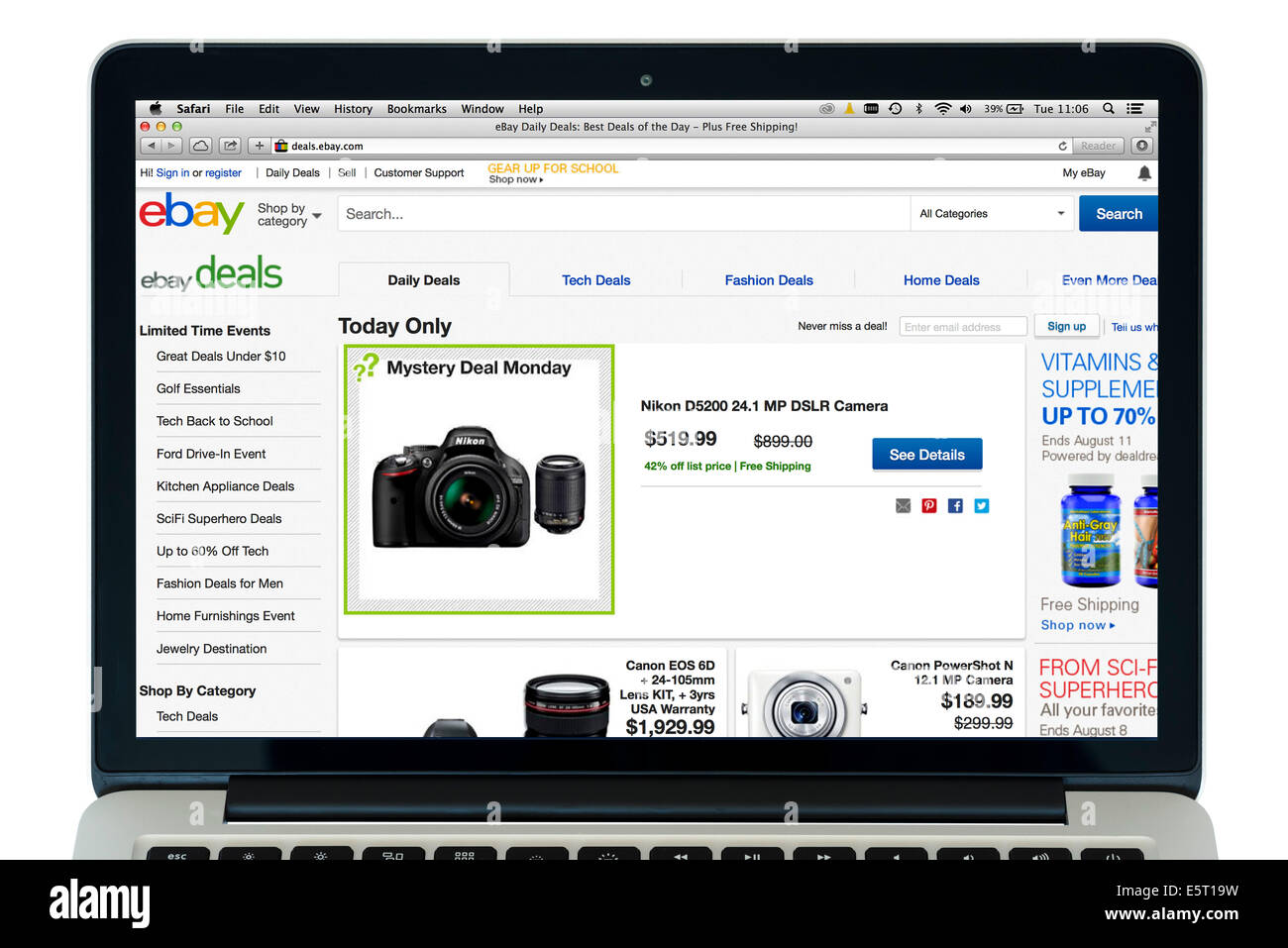 Ebay.com on a 13' Apple MacBook Pro Retina computer - Stock Image