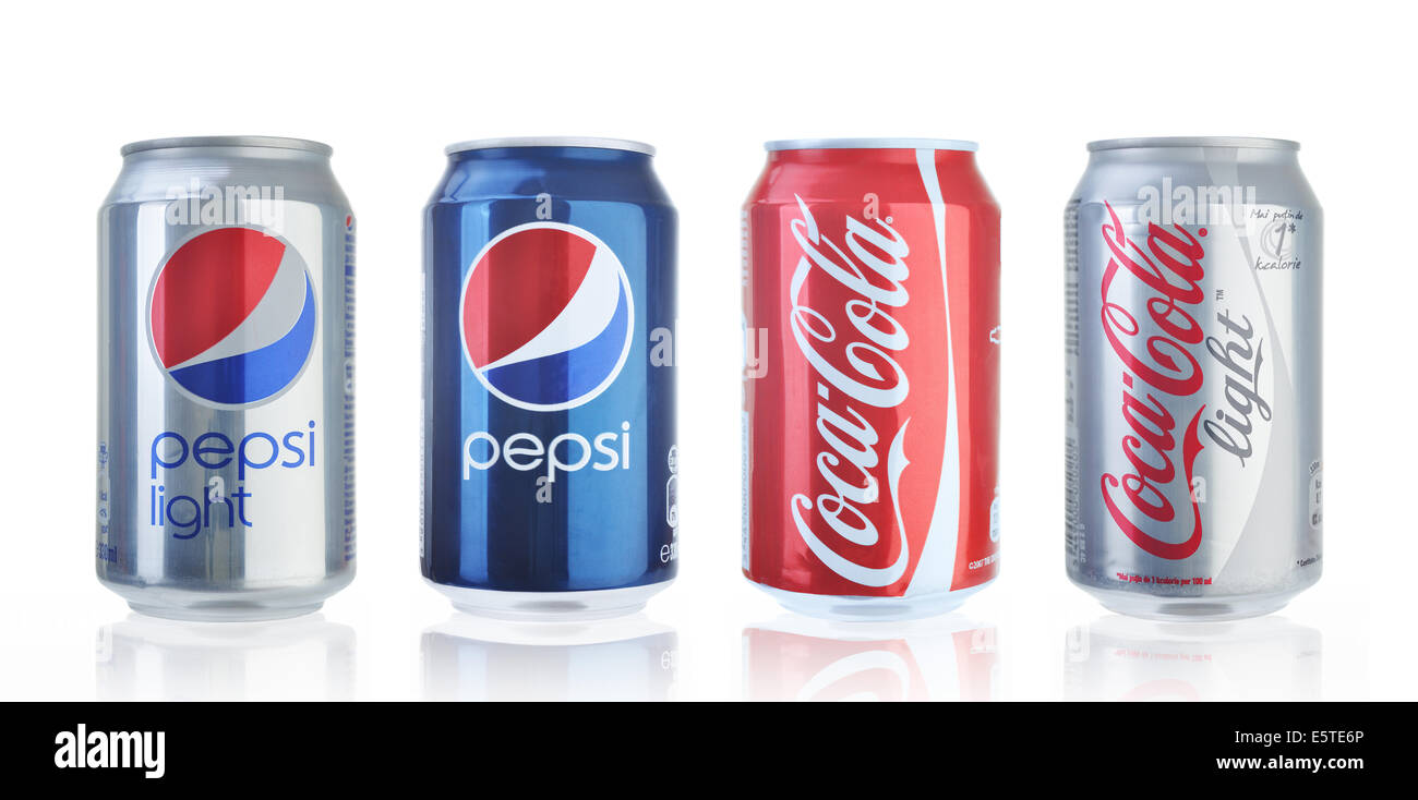 coca cola and pepsi cans isolated on white stock photo 72452766 alamy