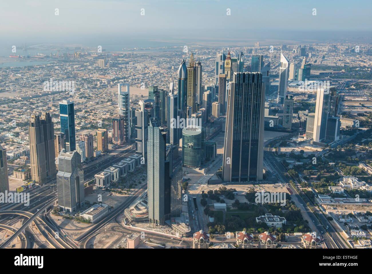 View over Dubai from Burj Khalifa, Dubai, United Arab Emirates, Middle East - Stock Image