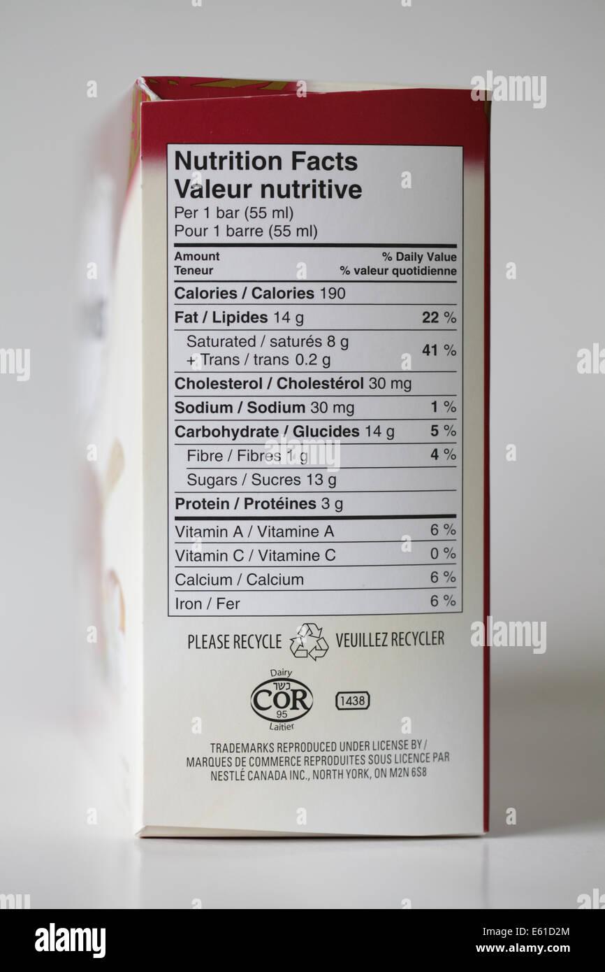 food label box - Stock Image